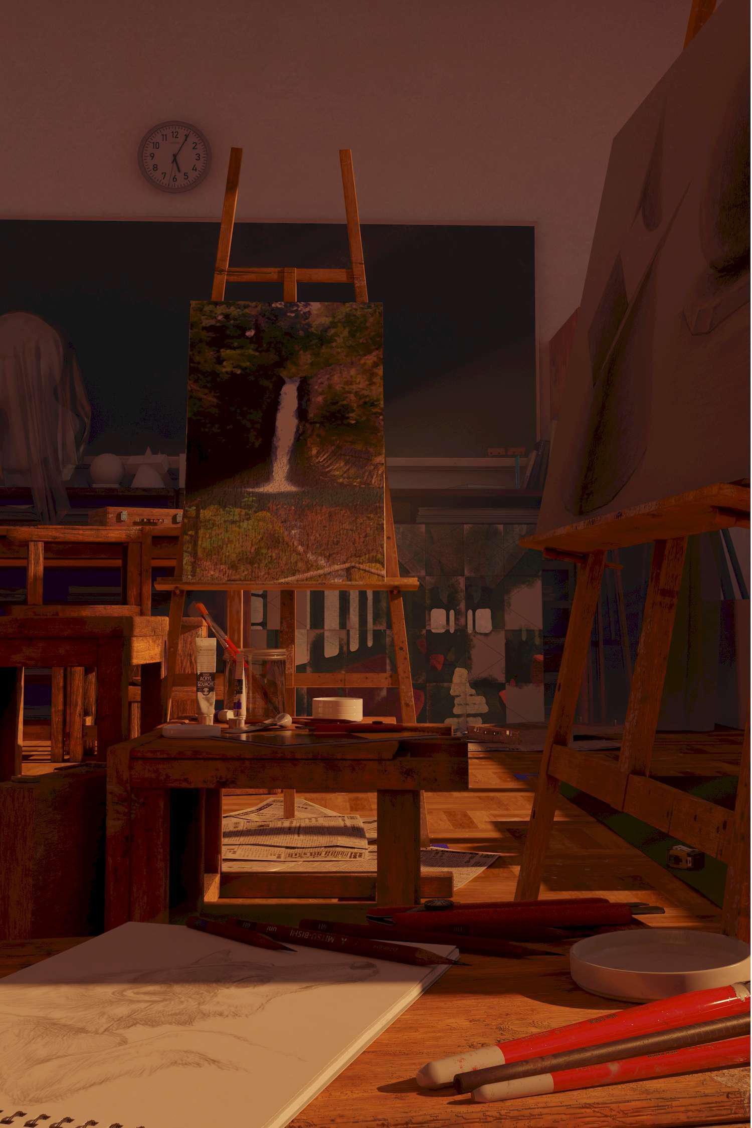 中條さんの作品『下校時刻 B棟3F 可塑美術室』